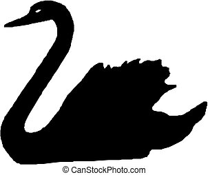 vector silhouette of swan