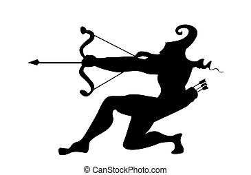 vector silhouette of the arrows on white background