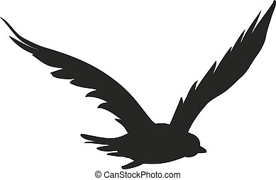Vector silhouette of the Bird of Prey in flight with wings...