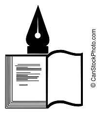 vector silhouette of the book on white background