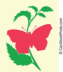 vector silhouette of the butterfly on white background