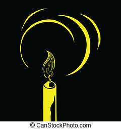 vector silhouette of the candle on black background