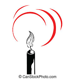 vector silhouette of the candle on white background