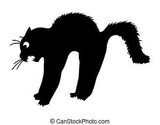 vector silhouette of the cat on white background