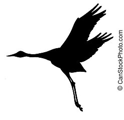 vector silhouette of the crane isolated on white background