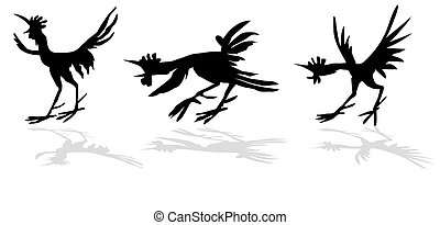 vector silhouette of the funny cock