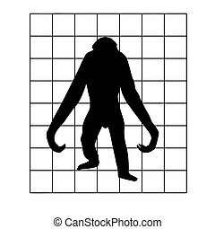 vector silhouette of the gorilla in hutch on white background