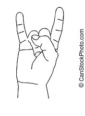 vector silhouette of the hand on white background