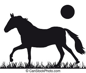 Vector silhouette of the horse