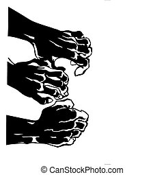 vector silhouette of the human hand on white background