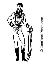 vector silhouette of the hussar