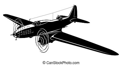 Vector silhouette of the old airplane