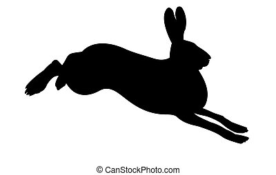 vector silhouette of the rabbit on white background