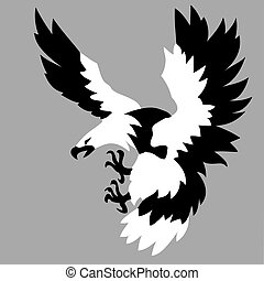 vector silhouette of the ravenous bird