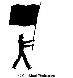 vector silhouette of the sailor with flag on white background