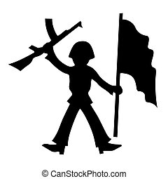 vector silhouette of the soldier on white background