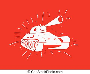 Vector silhouette of the Soviet tank. Vector hand drawn...