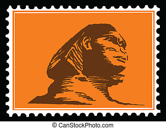 vector silhouette of the sphinx on postage stamps
