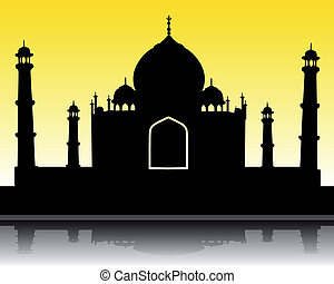 silhouette of the Taj Mahal