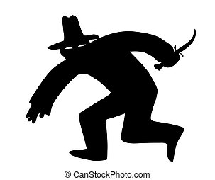 vector silhouette of the thief in mask on white background