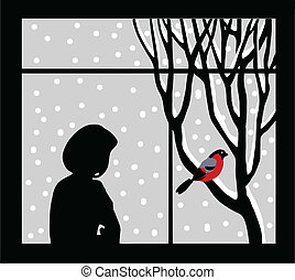 vector silhouette of the woman against window
