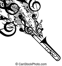 Vector Silhouette of Trombone with Musical Symbols. Includes...