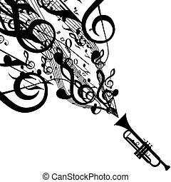 Vector Silhouette of Trumpet with Musical Symbols. Includes...