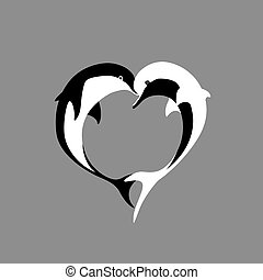 Vector silhouette of two black and white dolphin couple in...