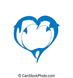 Vector silhouette of two dolphin couple in love with shape...