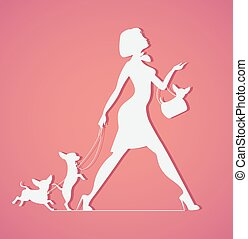 Vector silhouette of woman with dog. Young  walking dogs. Fashionista