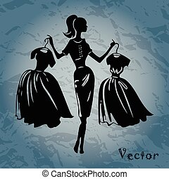 Vector silhouette of women on background
