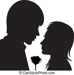 vector silhouette of young man and woman