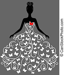 Vector silhouette of young woman in dress - Vector...