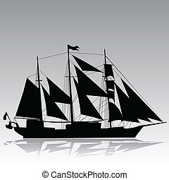 Vector silhouette old sailboat