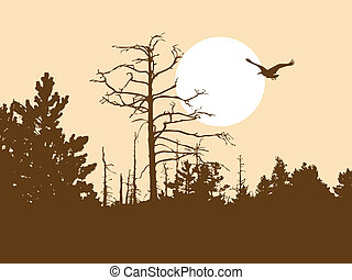 vector silhouette old wood on brown background