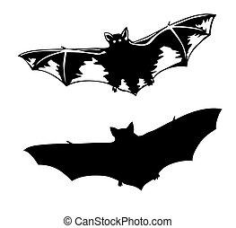 vector, silhouette, om te, vleermuis, op wit, achtergrond