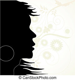 Vector silhouette on the floral background