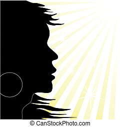 Vector silhouette on the sunny background