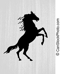 vector  silhouette on wood background