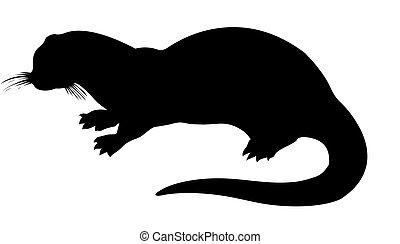 vector silhouette otter on white background