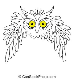 vector silhouette owl on white background