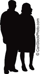 vector, silhouette, paar