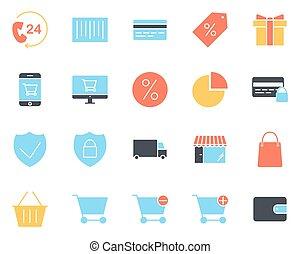 vector, silhouette, pictograms, shoppen , set., iconen