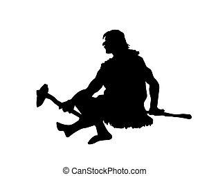 vector silhouette primitive persons