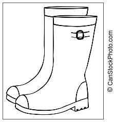 Vector silhouette rubber boots on white background.