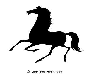 vector silhouette running horse on white background