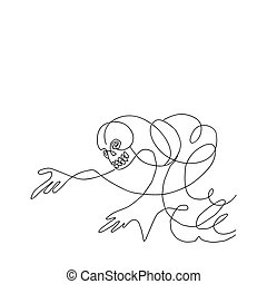 vector silhouette skeleton on white background
