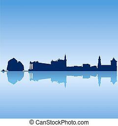 Vector silhouette skyline of Cyprus famouse sites