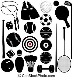 Sports Set: Balls, other exercise - Vector silhouette: ...