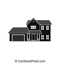 Vector silhouette suburban american house.